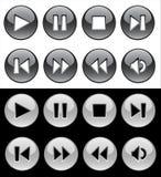 Botones blancos y negros para el jugador ilustración del vector