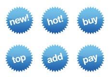 Botones brillantes azules del comercio electrónico Fotografía de archivo libre de regalías