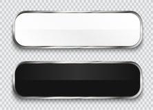 Botones brillantes blancos y negros aislados en fondo transparente libre illustration