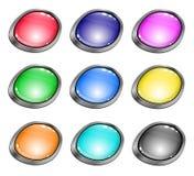 Botones brillantes coloreados para el Web site Fotos de archivo