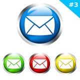 Botones brillantes con la carta del email Imagenes de archivo