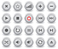 Botones brillantes de Media Player Imágenes de archivo libres de regalías