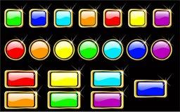 Botones brillantes del arco iris del vector fijados Libre Illustration