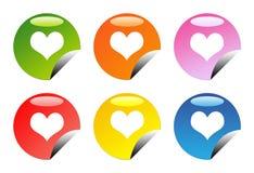 Botones brillantes del corazón del amor Imagen de archivo
