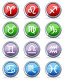 Botones brillantes del horóscopo del zodiaco Fotos de archivo libres de regalías