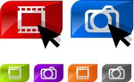 Botones brillantes del vídeo de la foto Fotografía de archivo libre de regalías