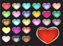 Botones brillantes del vector, corazones Foto de archivo