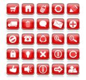Botones brillantes del Web de la Plaza Roja Foto de archivo