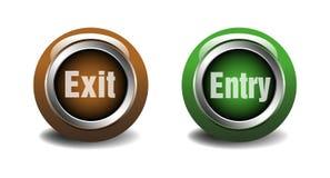 Botones brillantes del web de la salida y de la entrada Imagenes de archivo