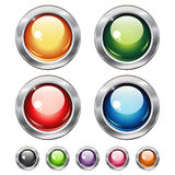 Botones brillantes del web en blanco redondo Foto de archivo libre de regalías