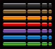 Botones brillantes del Web en negro Imagenes de archivo