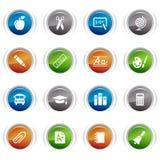 Botones brillantes - iconos de la escuela Imagen de archivo libre de regalías