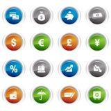Botones brillantes - iconos de las finanzas Imágenes de archivo libres de regalías