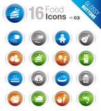 Botones brillantes - iconos del alimento Imagenes de archivo