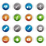 Botones brillantes - iconos médicos Fotos de archivo libres de regalías