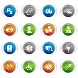 Botones brillantes - iconos médicos Foto de archivo