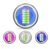 Botones brillantes redondos con el icono de la batería Fotografía de archivo libre de regalías