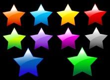 Botones brillantes simples de las estrellas Imagen de archivo libre de regalías