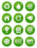 Botones brillantes verdes fijados Fotos de archivo