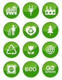Botones brillantes verdes fijados Foto de archivo