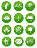 Botones brillantes verdes fijados Fotografía de archivo