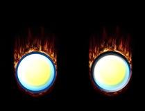 Botones calientes del fuego, presionados y sin prensar Imagen de archivo