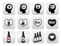 Botones cariñosos de la cerveza del hombre fijados Imagenes de archivo