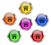 Botones caseros brillantes del icono Fotografía de archivo libre de regalías