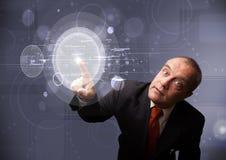 Botones circulares de alta tecnología abstractos conmovedores del hombre de negocios Fotos de archivo