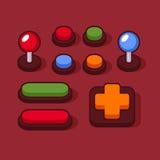 Botones coloridos y palancas de mando fijados para Arcade Machine Vector Imágenes de archivo libres de regalías
