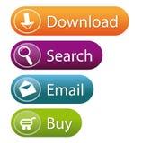 Botones con estilo del Web site Fotografía de archivo libre de regalías