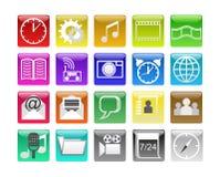 Botones con los iconos. Imagen de archivo libre de regalías