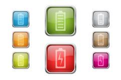Botones con los iconos de la muestra de la batería Imágenes de archivo libres de regalías