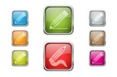 Botones con los iconos de la muestra del lápiz Foto de archivo