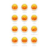 Botones con los iconos del símbolo del zodiaco Foto de archivo libre de regalías