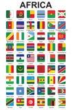 Botones con los indicadores de países africanos Imagen de archivo libre de regalías