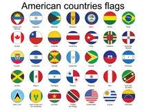 Botones con los indicadores de países americanos Fotos de archivo libres de regalías