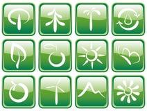 Botones con símbolos ecológicos Imágenes de archivo libres de regalías