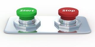 Botones con un comienzo y una parada de la inscripción. Fotografía de archivo