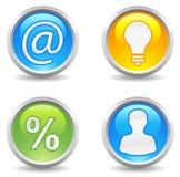 Botones - contacto, idea, beneficio, utilizador Imágenes de archivo libres de regalías