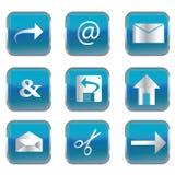 Botones cuadrados azules con los iconos de la PC Fotos de archivo