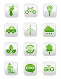 Botones cuadrados brillantes verdes fijados Fotografía de archivo libre de regalías