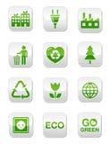 Botones cuadrados brillantes verdes fijados Fotografía de archivo