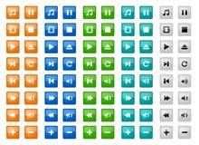 Botones cuadrados de los media fijados Fotos de archivo