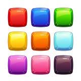 Botones cuadrados de piedra brillantes coloridos de la historieta ilustración del vector