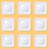 Botones cuadrados en blanco retros Fotos de archivo libres de regalías
