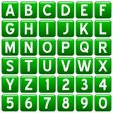 Botones cuadrados verdes del alfabeto Fotografía de archivo libre de regalías