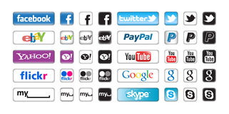 Botones de Apps para el establecimiento de una red social Imagenes de archivo