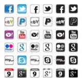 Botones de Apps para el establecimiento de una red social Fotos de archivo libres de regalías