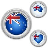 Botones de Australia con el corazón, correspondencia ilustración del vector